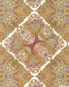 eQuilter - KADAM4SG - Damask Rose - Kerchief Paisley - Sage Green from the 'Damask Rose' collection by Robert Kaufman Fabrics.