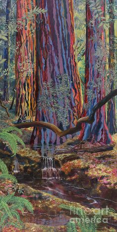 Redwood Picnic Art Print by Cheryl Myrbo. All prints are professionally printed, packaged, and shipped within 3 - 4 business days. Choose from multiple sizes and hundreds of frame and mat options. Atlanta Art, Landscape Art Quilts, Tree Art, Fabric Art, Aesthetic Art, Art Inspo, Amazing Art, Fine Art America, Cool Art