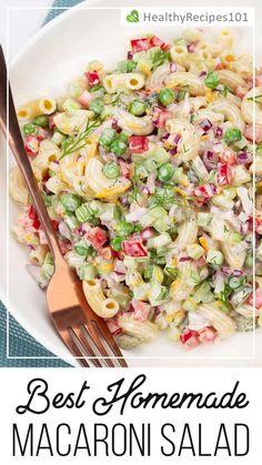 Macaroni Salad Ingredients, Homemade Macaroni Salad, Healthy Macaroni Salad, Macaroni Salads, Easy Salad Recipes, Bean Recipes, Healthy Recipes, Healthy Nutrition, Luncheon Menu