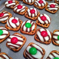 Salty & sweet treats!  Checkerboard pretzels Bag of Hersey Hugs Bag of M  Preheat oven to 170 degrees. Place preztels on cookie sheet on top of wax paper. Place one hug on each pretzels. Bake for 4 minutes. Remove from oven and push a m on top. Place in freezer for 8-10 min to reset chocolate.  Yummy!
