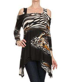 Karen T. Design Black Abstract Cutout Sidetail Top - Women & Plus by Karen T. Design #zulily #zulilyfinds
