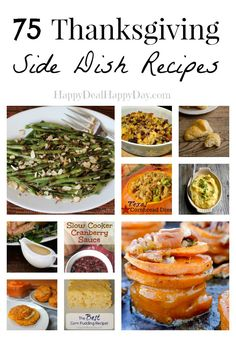 75 Thanksgiving Side Dish Recipes - Look No Further For Your Delicious Feast! This is a combo of traditional and some non-traditional Thanksgiving side dishes. No turkey or dessert recipes - but everything else! happydealhappyday.com