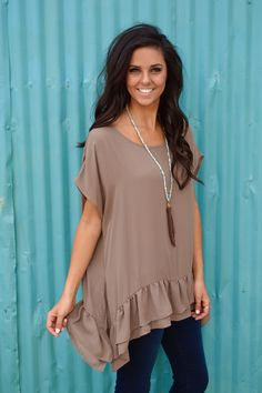 Ruffle the Romance Blouse- Mocha from Shop Southern Roots TX