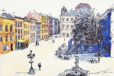 Lviv Rynok square by Natalia Li. May 4, 2015 - Ink pen, markers