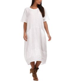 Look at this #zulilyfind! Couleur Lin Navy Blue Cristina Linen Dress ...