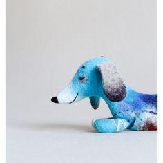 Felt Toy kids gift Dachshund Hubert Waldorf Felted dog Art Toy Puppet... (€72) ❤ liked on Polyvore featuring twosaddonkeys and felt toy