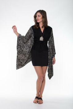 Boho Silk Collection – Black & Off White Kimono Ladli Australia  Pure Silk and solid cotton kimono.