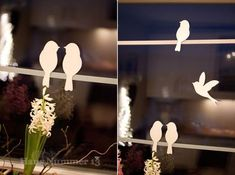 Cut out silhouettes to keep birds away from windows.: