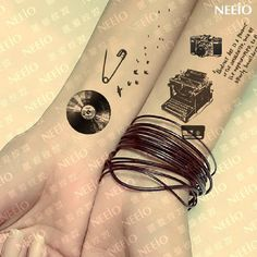 Nostalgic elements temporary tattoos for men women wrist arm leg Waterproof tatoo