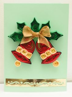Items similar to Quilling Christmas Card on Etsy Neli Quilling, Paper Quilling Cards, Origami And Quilling, Paper Quilling Patterns, Quilled Paper Art, Quilling Paper Craft, Quilling Flowers, Paper Crafts, Quilling Christmas