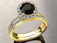 Diamante natural negro Halo anillo de por WinterFineJewelry en Etsy