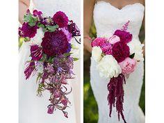 Dramatic plum and pink wedding flowers. Violetta Flowers, San Francisco.