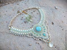 """Купить Колье """"Oleandra"""" - ларимар, голубой цвет, небо, лето, море, горы, маки, голубой"""