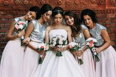 Bold, bright, and beautiful bridesmaids! Give your girls a touch of glitter with a silver top that will make them shine and stand out on your big day. Wedding Blog, Wedding Styles, Brides Maid Gown, Bride And Breakfast, Luxury Wedding Venues, Bridesmaid Dresses, Wedding Dresses, Bridesmaids, Wedding Locations