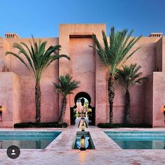 Striking architecture of Amanjena in Marrakech, Morocco.