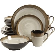 Customer Image Zoomed  sc 1 st  Pinterest & Sango 40-piece Nova Brown Stoneware Dinnerware Set | Vajillas ...