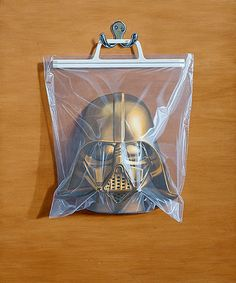 In each oil painting he depicts beloved superheroes known for their epic battles, hung and stored away in plastic bags. Chewbacca, Hulk, Darth Vader Mask, Illustration Arte, The Force Is Strong, A New Hope, Arte Pop, Magical Creatures, Art For Sale