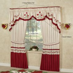 The Briar Rose Comforter Set is polyester faux silk. The champagne center has diamond quilting, and the drop has dark red and blush vining rose embroidery. Rose Comforter, Comforter Sets, Home Curtains, Valance Curtains, Sewing Room Decor, Elegant Curtains, Briar Rose, Curtain Designs, Bed Spreads