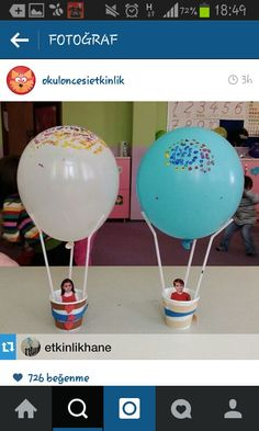 Airballoons using plastic/paper cups, straws and balloons Preschool Crafts, Diy And Crafts, Crafts For Kids, Arts And Crafts, Paper Crafts, Projects For Kids, Diy For Kids, Craft Projects, Art N Craft