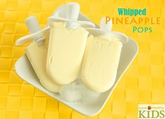 Whipped Pineapple Pops - just 3 ingredients and tastes just like the Dole Whips at Disneyland! - I can't wait to try these!! Crushed Pineapple, Super Healthy Kids, Coconut Milk, Almond Milk, Popsicle Molds, Consistency, Vegan Treats, Freeze, High Power Blender