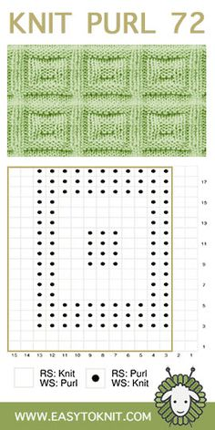Knit Purl Square Buttons - Easy To Knit Loom Knitting Stitches, Cable Knitting, Loom Knitting Patterns, Crochet Flower Patterns, Knitting Charts, Stitch Patterns, How To Purl Knit, Knit Purl, Purl Stitch