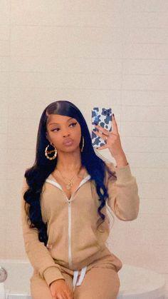 Baddie Hairstyles, Black Girls Hairstyles, Weave Hairstyles, Cute Hairstyles, Baddie Outfits Casual, Cute Swag Outfits, Girl Outfits, Pretty Black Girls, Beautiful Black Girl