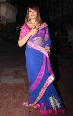 Bipasha Basu Pink And Blue Saree At South Scope Awards by Vendorvilla.com