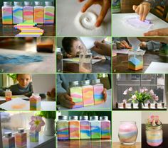 Rainbow in a bottle. Excellent for decoration .... all you need is just a glass bottle or jar, colored chalk and salt