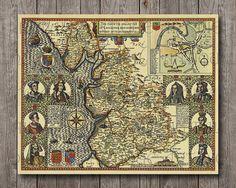 Lancaster Lankashire Old Map 1610 VIntage England United Kingdom Great Britain medieval kings Printable Large Print Poster,Great for framing