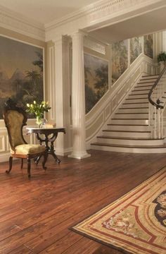 Stairways - floor - stunning Victorian Grade HeartPine gives this beautiful entryway a feel of old world elegance and warmth! Heart Pine Flooring, Pine Floors, Elegant Home Decor, Elegant Homes, New Interior Design, Interior And Exterior, Country Interior, Beautiful Interiors, Beautiful Homes