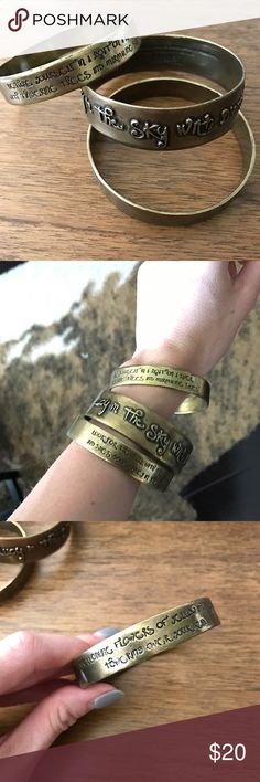 """Lyric Culture Bangle Set - The Beatles Conversation-starting bangle set by Lyric Culture. These unique bangles are made out of bronze and contain the lyrics to """"Lucy in the Sky with Diamonds.""""  Brand new and never worn! Please message me with any questions or offers! Lyric Culture Jewelry Bracelets"""