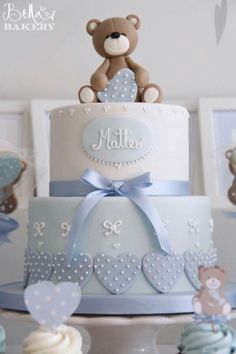 New Baby Boy Baptism Cale Christening Teddy Bears Ideas Baby Cakes, Baby Shower Cakes, Baby Shower Parties, Baby Shower Themes, Shower Ideas, Christening Cake Boy, Baby Boy Baptism, Baptism Cakes, Teddy Bear Baby Shower
