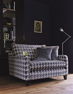 Velvet accent chairs - how beautiful! Here's Multiyork's Dexter Snuggler in the beautiful Camden Grey velvet.