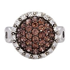 Round Dome Shaped Halo Style Ring with Rich Brown and White Cubic Zirconias Set in Sterling Silver Gorgeous Dress, Stunning Dresses, Beautiful, Cubic Zirconia Earrings, Dress Rings, Sterling Silver Rings, Halo, Centre, Stones