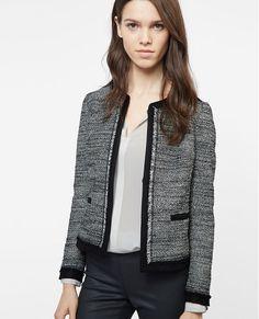 Veste en tweed frangée VIKEA - Couleur BLACK/WHITE 245€