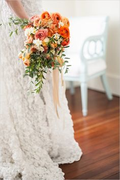 Finch And Thistle cascading bridal bouquet