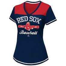 Boston Red Sox Women's Dugout Dream Fashion Top by Majestic Athletic