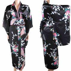 Get Best Price New Arrival Black Vintage Japanese Women's Kimono Haori Yukata Silk Satin Dress Mujeres Quimono Peafowl One Size Kimono Yukata, Kimono Dress, Silk Kimono, Floral Kimono, Silk Satin Dress, Satin Dresses, Island Outfit, Girls Bridesmaid Dresses, Japan Woman