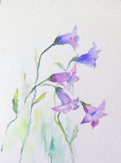 Bluebell Flowers Watercolour 57 inch Original by Mirabilitas