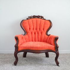 Bright, Coral Tufted Victorian Chair | Birch & Brass Vintage Rentals | Weddings and Corporate Events | Austin, Texas