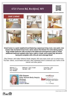 6721 Forest Rd Rockford MN 55373 Just Listed! This home is located in Winfield Ponds 2nd Addition. Close to Lake Rebecca Park Reserve. IDS 883 Rockford schools.