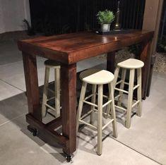DIY Wooden Backyard Bar Table On Wheels