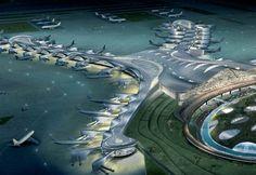 The Midfield Terminal Building @ Abu Dhabi International Airport. Futuristic City, Futuristic Architecture, Abu Dhabi, Dubai, Airport Design, Eco City, Airport Lounge, Amazing Buildings, Future City
