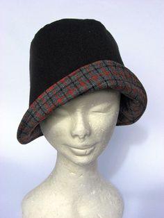 Hüte - Hut Cloche schwarz grau kariert - ein Designerstück von Janecolori bei DaWanda