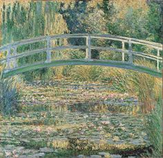 "Claude Monet - ""The Water-Lily Pond"" (1899) Monet moved to Giverny in 1883. In 1893 he acquired a small pond and created a water garden with an arched bridge in the Japanese style, copied from a print that hung in his dining room. In 1899, when the vegetation of the water garden was at its most luxuriant, he began a series of views across the pond to the arching bridge. Here the garden is shown in slanting summer afternoon light, in cool harmonies of green, mauve bright yellow and red."