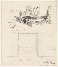 Arne Korsmo, Sjøtner, Gunnar (Oppdragsgiver), «Pølsebod ved Bislett» Floor Ceiling, Oslo, Floor Plans, Diagram, Design, Floor Plan Drawing, House Floor Plans