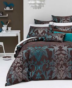 3 Pce - SICILLY Choc Teal KING Jacquard Quilt Doona Cover Set