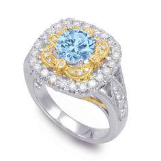 Vintage-Style Aquamarine & Diamond Ring, Aquamarine Engagement Rings for Women, Cocktail Ring, Fashion Wedding Rings, Anniversary Gemstone Jewelry