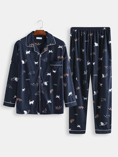 Men Cute Cat Print Pajamas Cotton Comfortable Button Down Home Sleepwear is personalized and designer, see other cool on NewChic. Cute Sleepwear, Sleepwear Women, Pajamas Women, Cute Pajama Sets, Cute Pajamas, Girls Fashion Clothes, Teen Fashion Outfits, Night Suit For Girl, A Line Skirt Outfits
