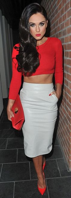 White leather skirt and orange crop top